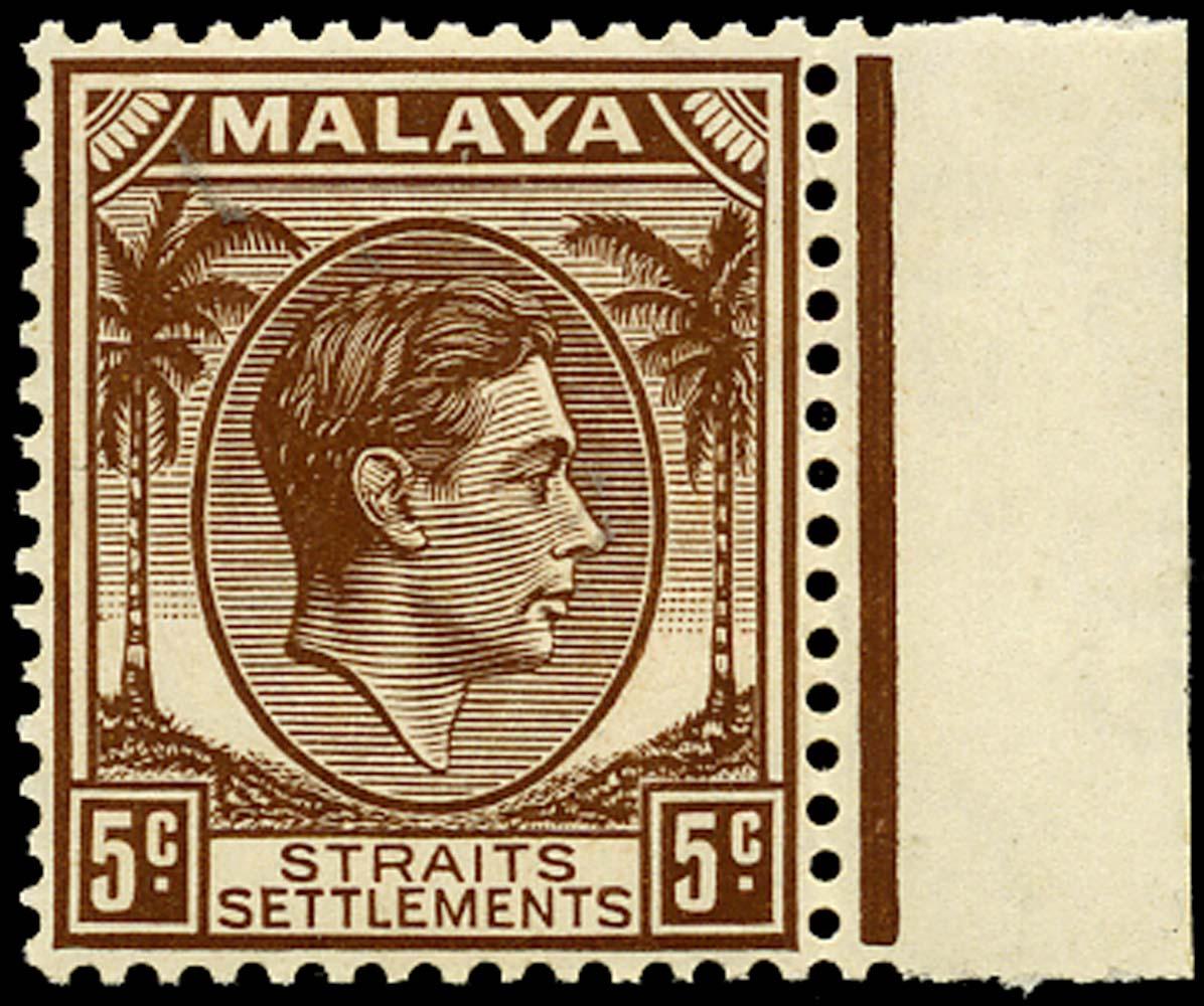 MALAYA - STRAITS 1939  SG297 Mint 5c brown Die II unmounted