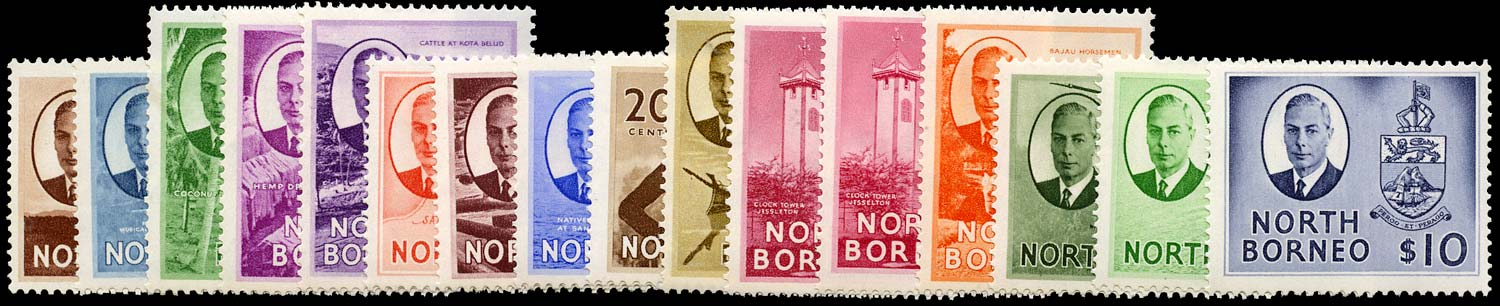 NORTH BORNEO 1950  SG356/70 Mint KGVI set of 16 to $10 unmounted
