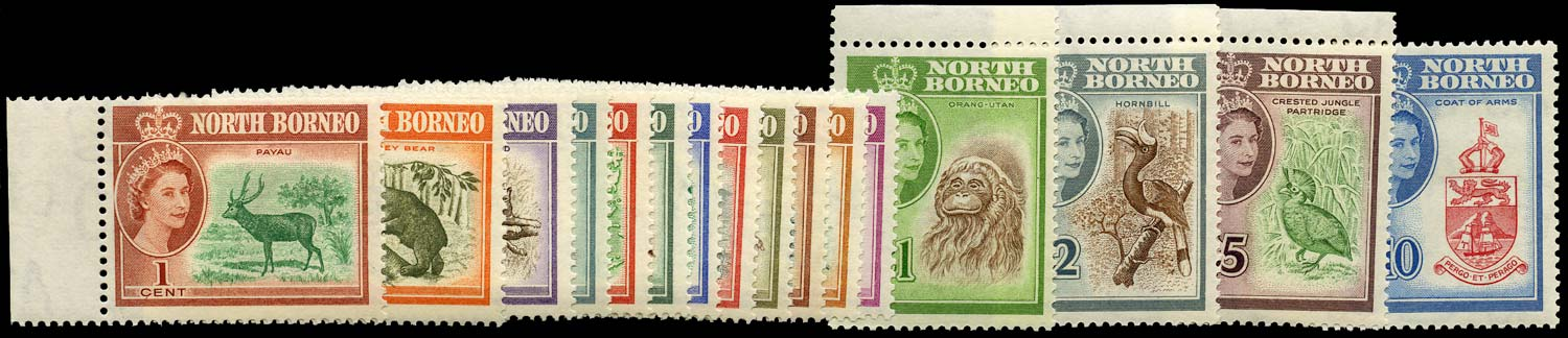 NORTH BORNEO 1961  SG391/406 Mint QEII set of 16 to $10 unmounted