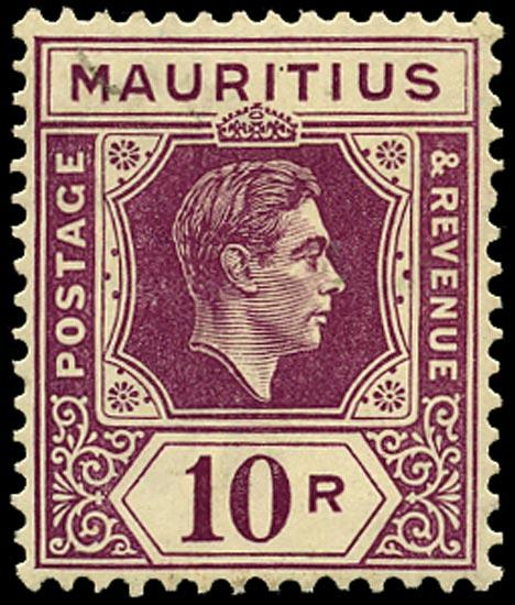 MAURITIUS 1938  SG263 Mint 10r reddish purple