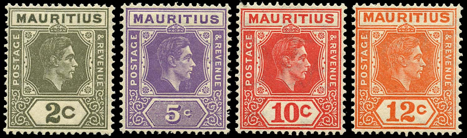 MAURITIUS 1942  SG252a/57a Mint perf 15x14 2c, 5c, 10c, 12c unmounted