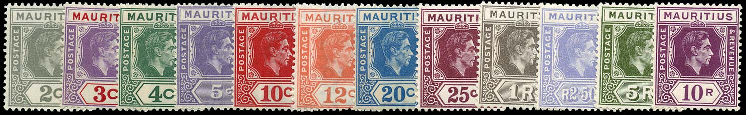 MAURITIUS 1938  SG252/63a Mint KGVI set of 12 to 10r unmounted
