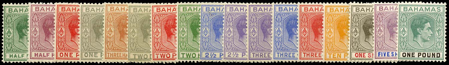 BAHAMAS 1938  SG149/57a Mint KGVI set of 17 to £1 unmounted