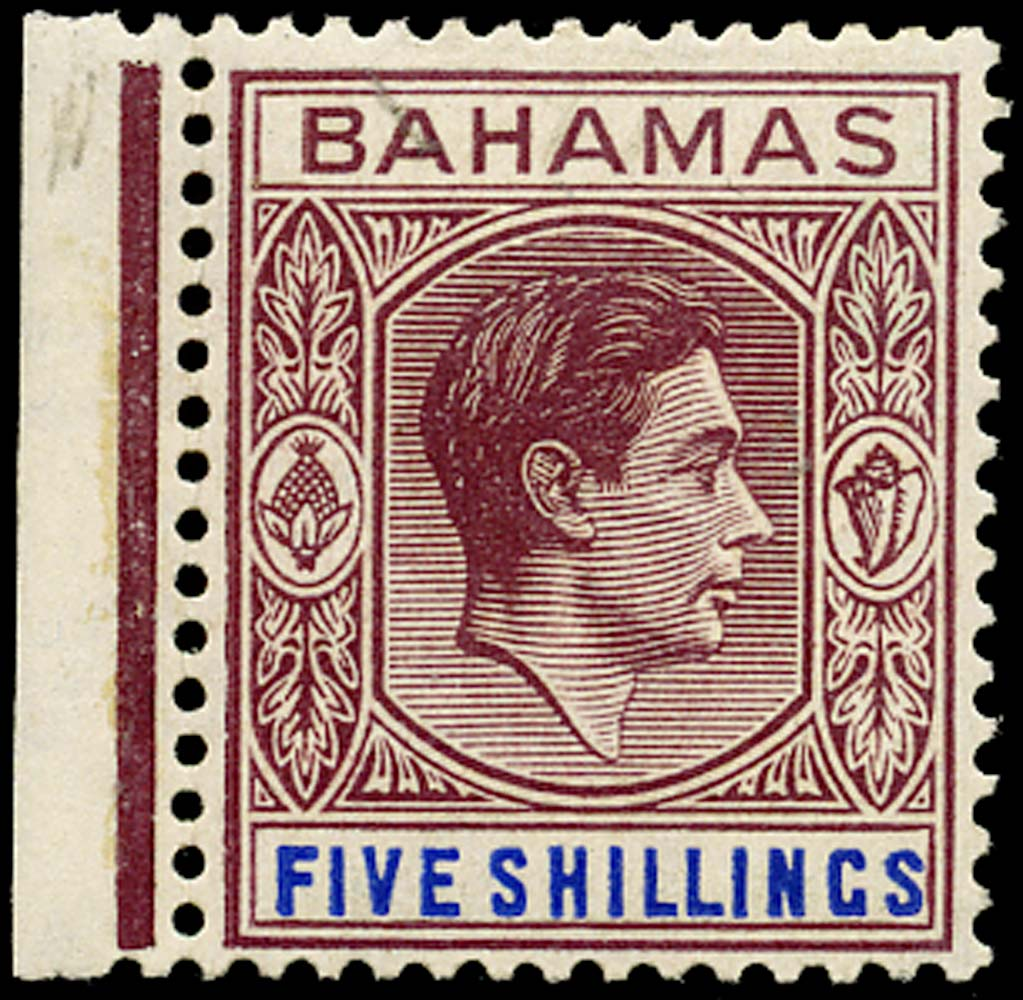 BAHAMAS 1948  SG156d Mint 5s brown-purple and deep bright blue unmounted