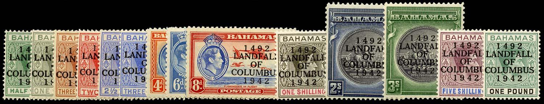 BAHAMAS 1942  SG162/75a Mint Landfall of Columbus set of 14 unmounted