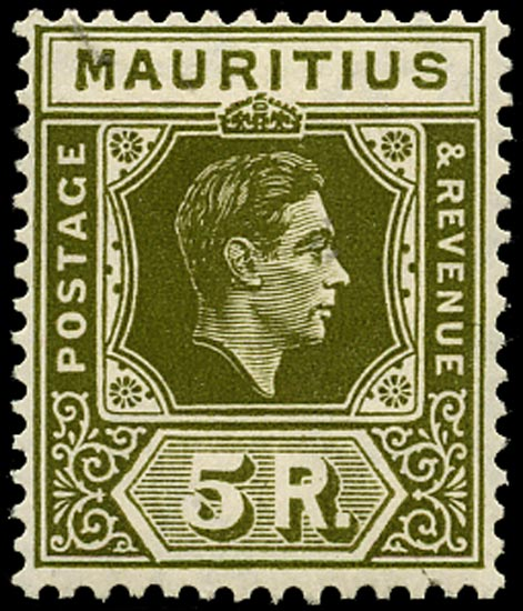 MAURITIUS 1948  SG262 var Mint 5r deep olive on chalk-surfaced paper
