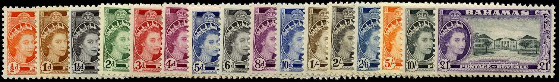 BAHAMAS 1954  SG201/16 Mint QEII set of 16 to £1 unmounted