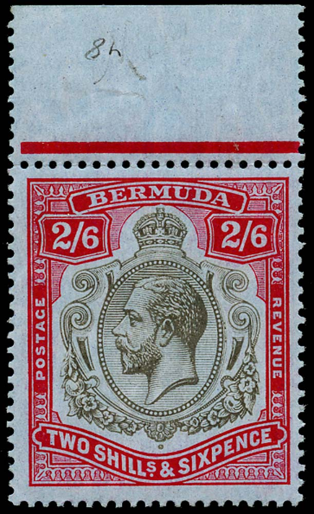 BERMUDA 1918  SG52 Mint KGV 2s6d black and red on blue paper unmounted