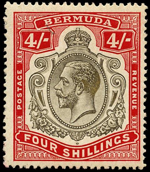 BERMUDA 1920  SG52b Mint KGV 4s black and carmine