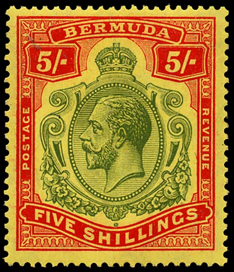 BERMUDA 1918  SG53 Mint 5s deep green and deep red on yellow paper