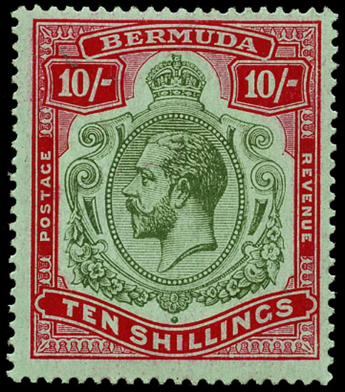 BERMUDA 1918  SG54 Mint 10s green and carmine unmounted