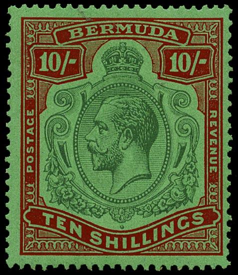 BERMUDA 1930  SG92g Mint 10s Script watermark unmounted