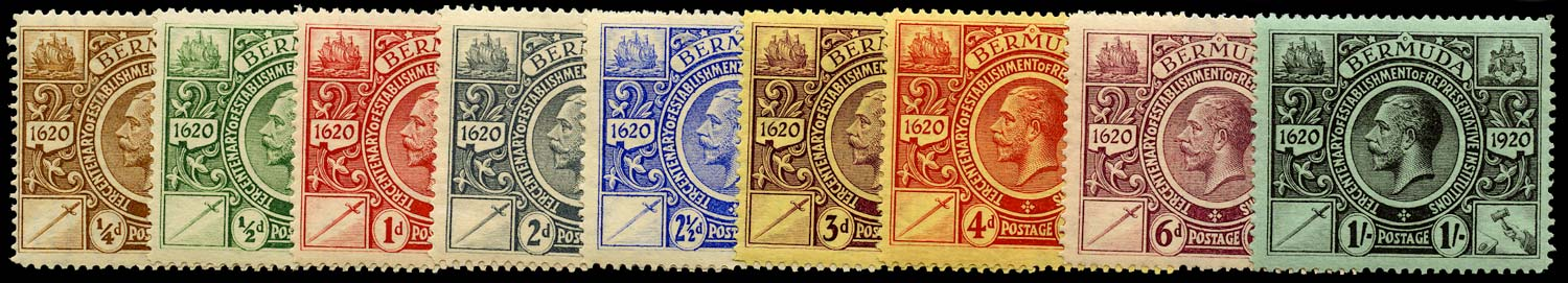 BERMUDA 1921  SG68/76 Mint Tercentenary (2nd issue) set of 9 to 1s