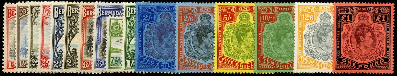 BERMUDA 1938  SG110/21c Mint KGVI set of 16 to £1 unmounted