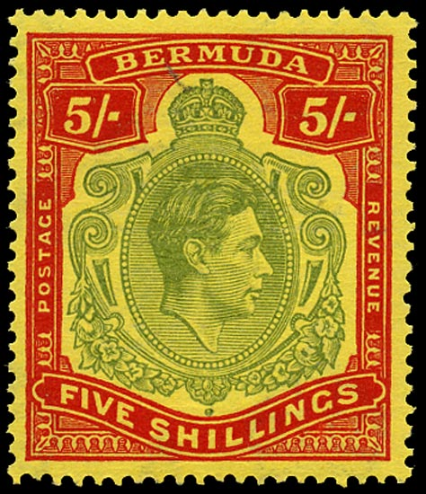 BERMUDA 1943  SG118d Mint 5s pale bluish green and carmine-red unmounted