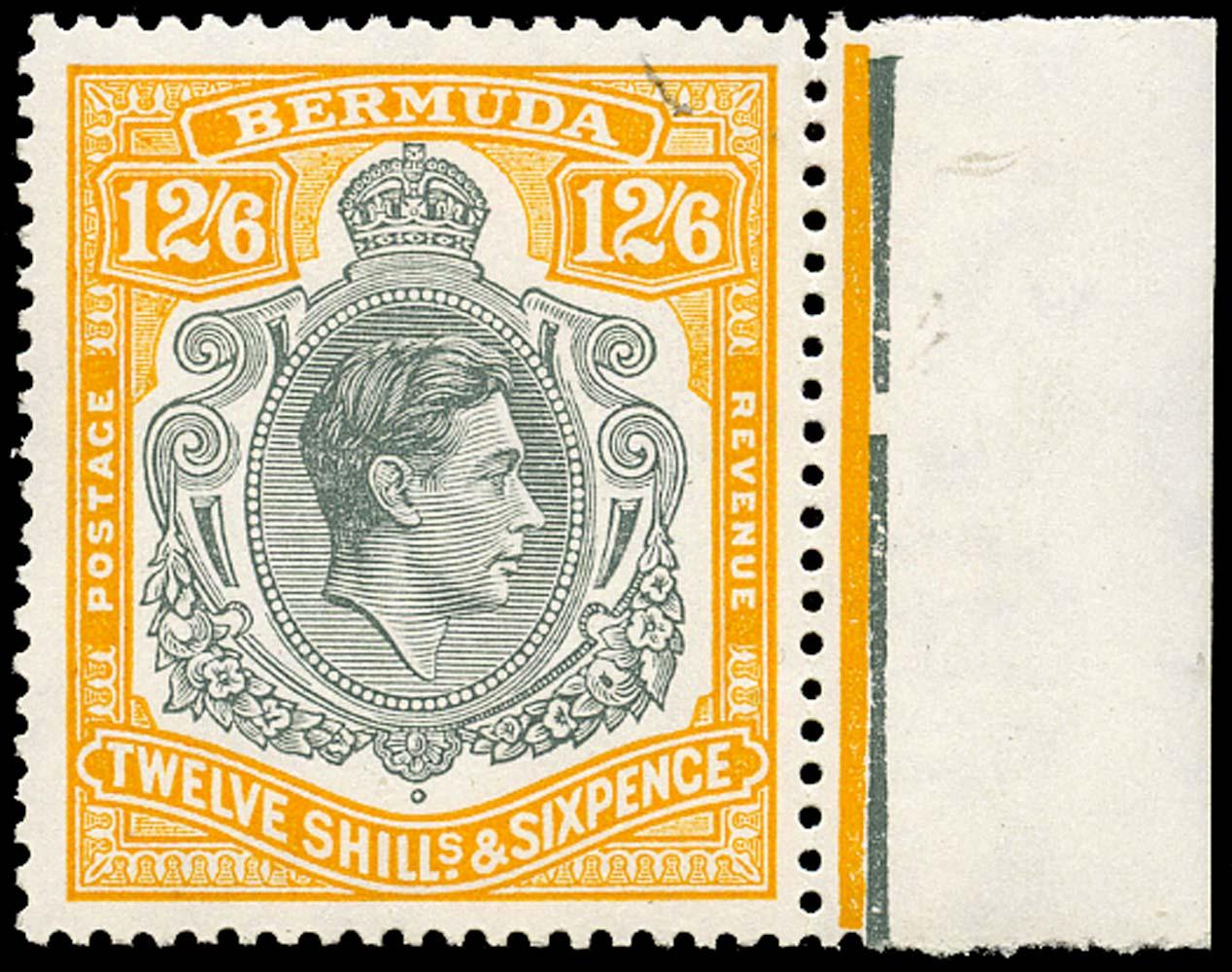BERMUDA 1950  SG120e Mint 12s6d grey and pale orange perf 13