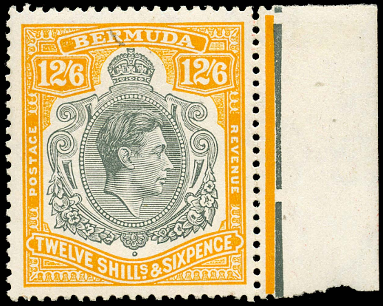 BERMUDA 1950  SG120e Mint 12s6d grey and pale orange perf 13 HPF 48