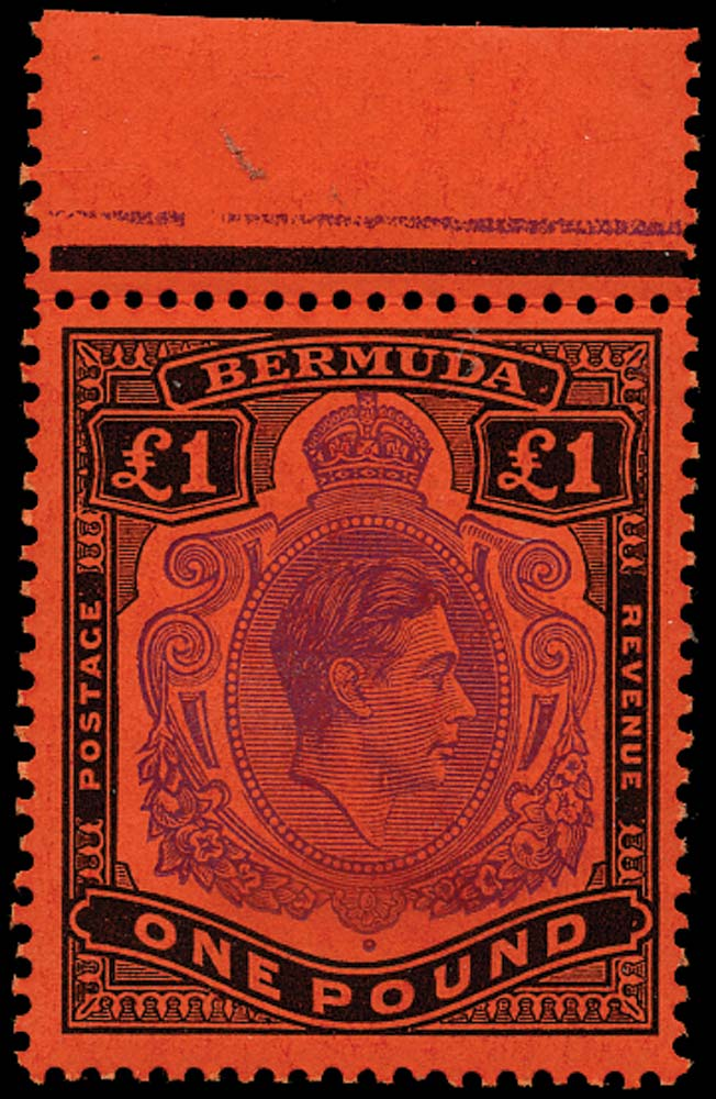 BERMUDA 1951  SG121d Mint £1 violet and black on scarlet paper HPF 4