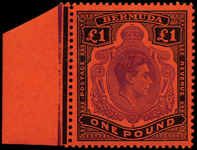 BERMUDA 1951  SG121d Mint £1 violet and black on scarlet paper perf 13