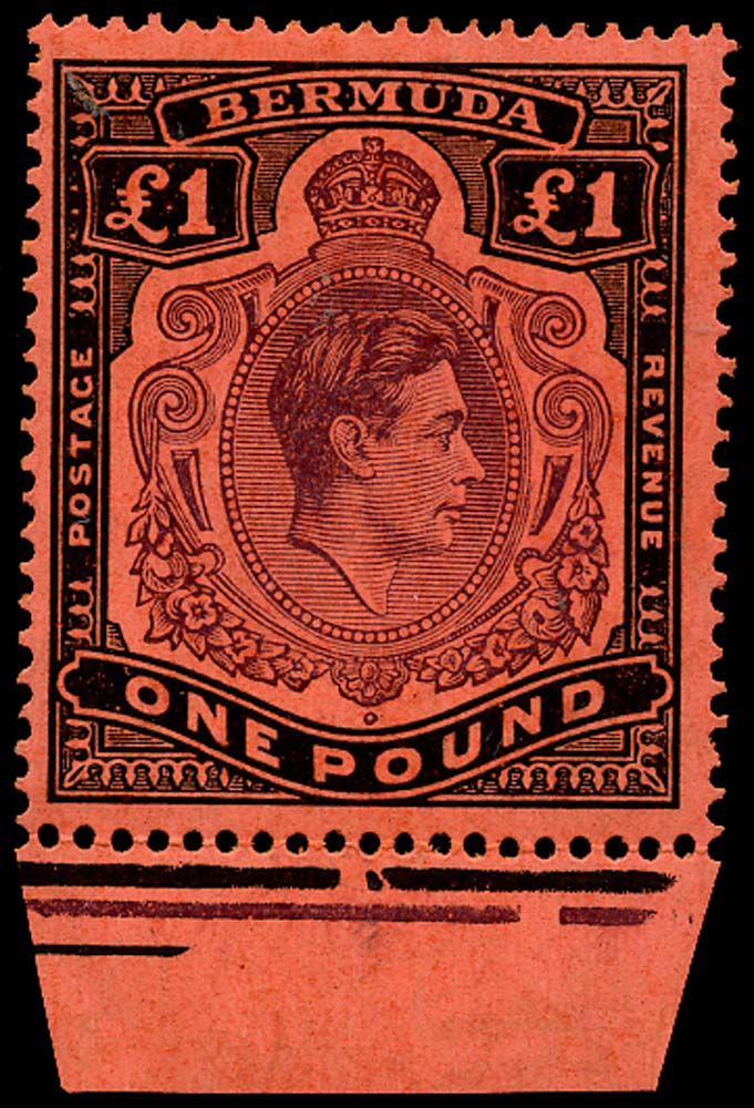 BERMUDA 1945  SG121c var Mint £1 deep purple and jet-black on pale red paper