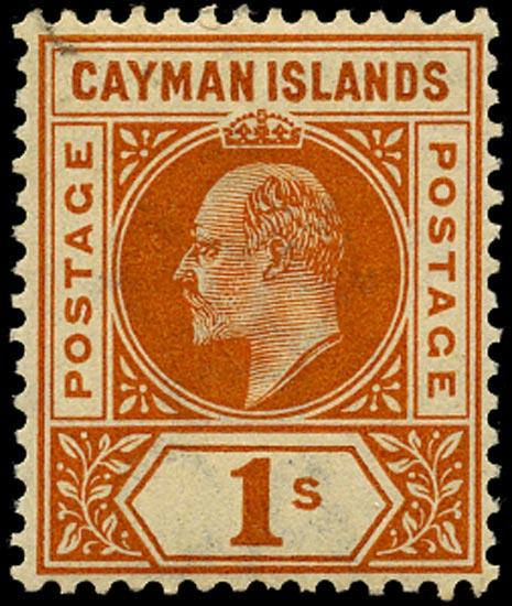 CAYMAN ISLANDS 1902  SG7 Mint 1s orange watermark CA unmounted