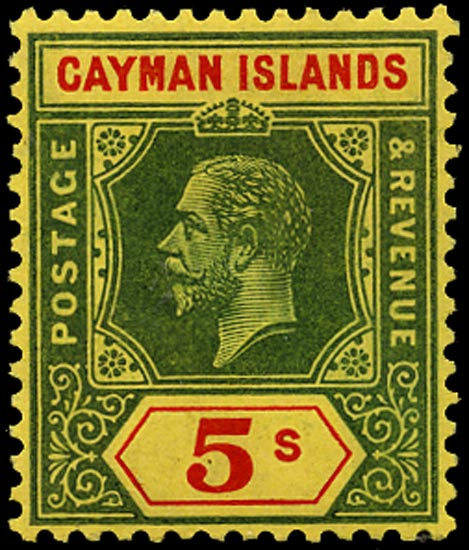 CAYMAN ISLANDS 1914  SG51 Mint 5s green and red on yellow paper