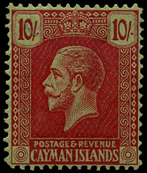 CAYMAN ISLANDS 1926  SG83 Mint 10s carmine on green Script CA watermark