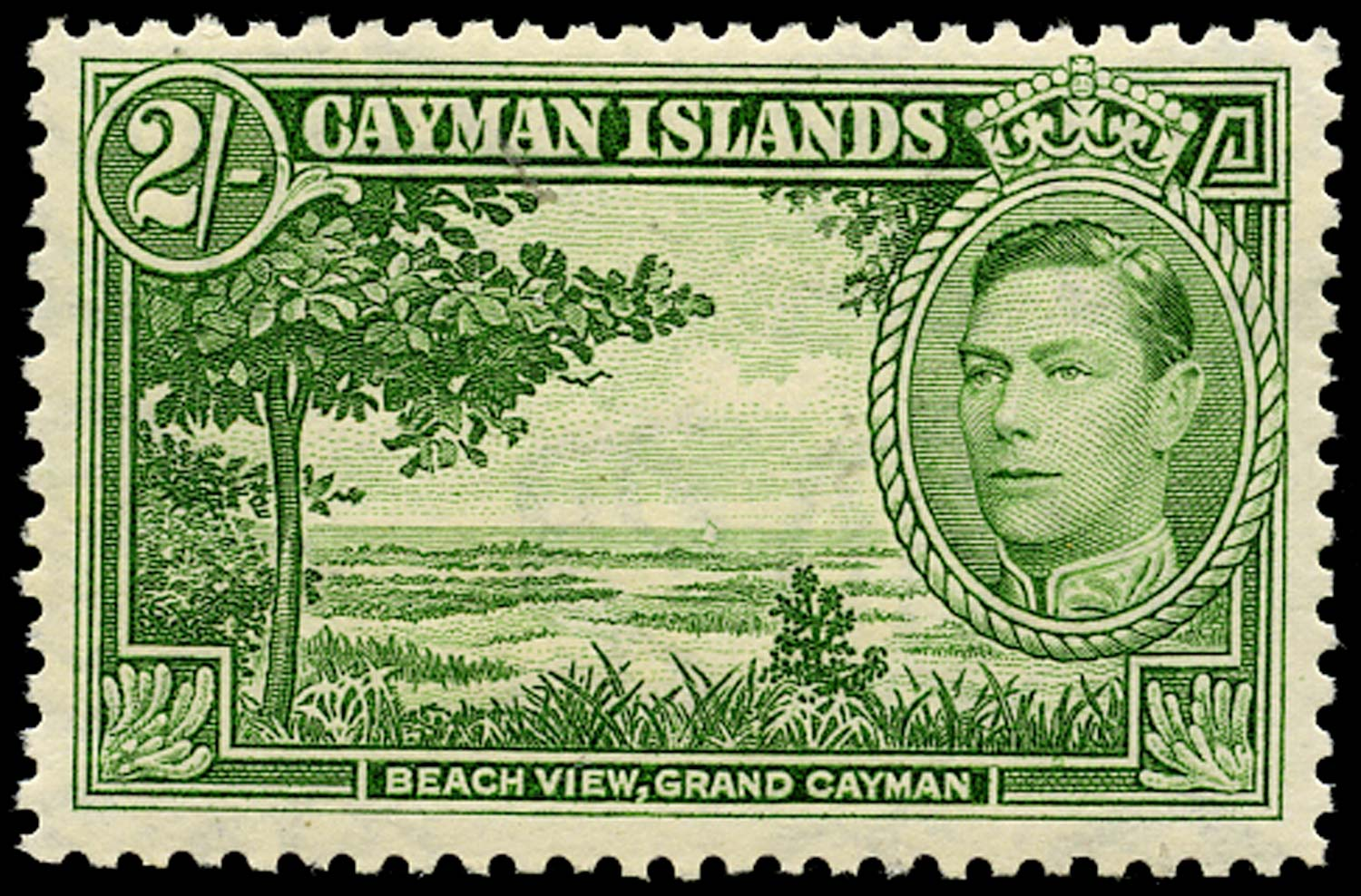 CAYMAN ISLANDS 1938  SG124 Mint 2s yellow-green unmounted