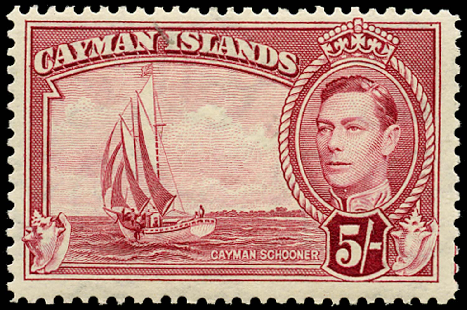 CAYMAN ISLANDS 1948  SG125a Mint 5s crimson unmounted
