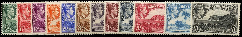 MONTSERRAT 1942  SG101a/12 Mint KGVI set of 12 to £1 unmounted
