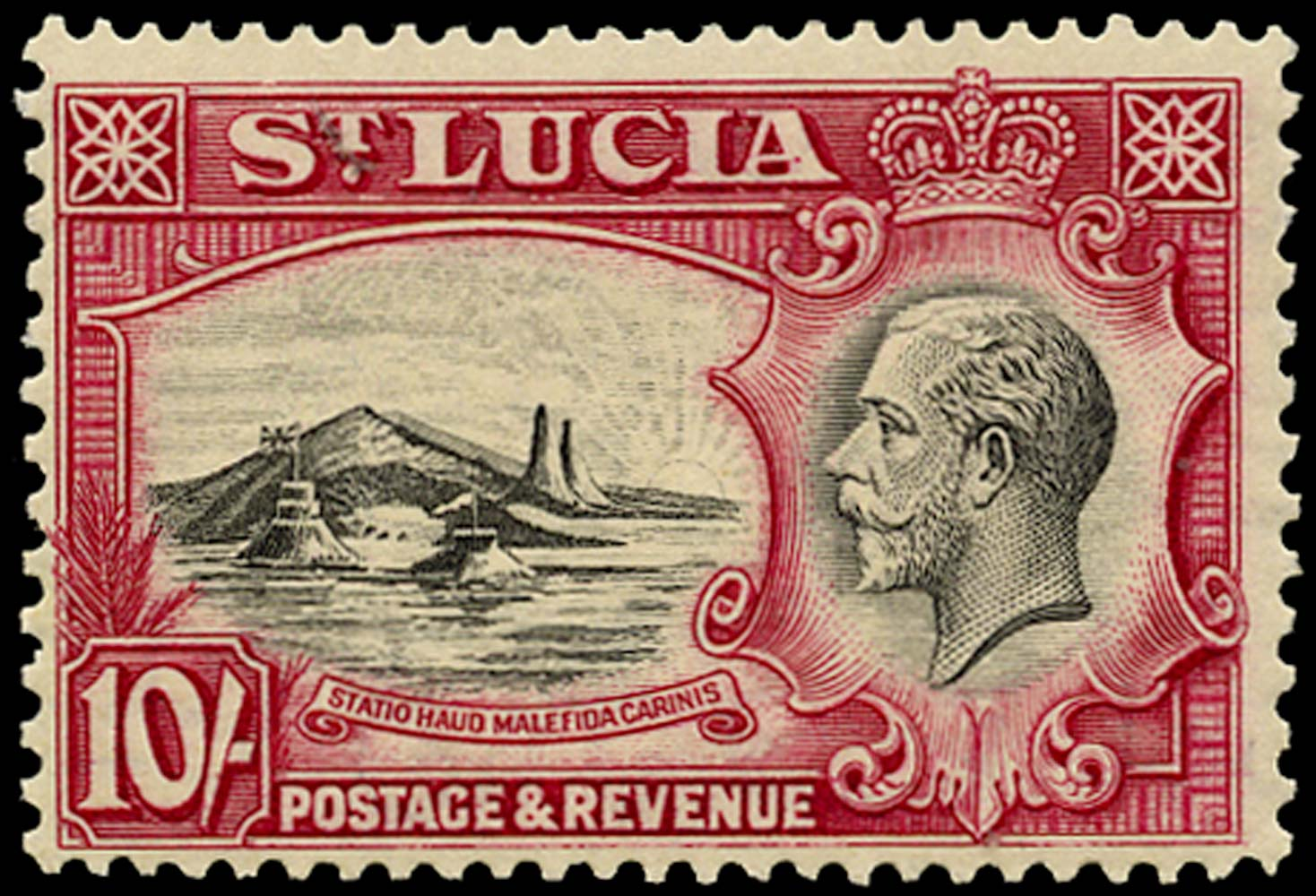 ST LUCIA 1936  SG124 Mint KGV 10s black and carmine unmounted
