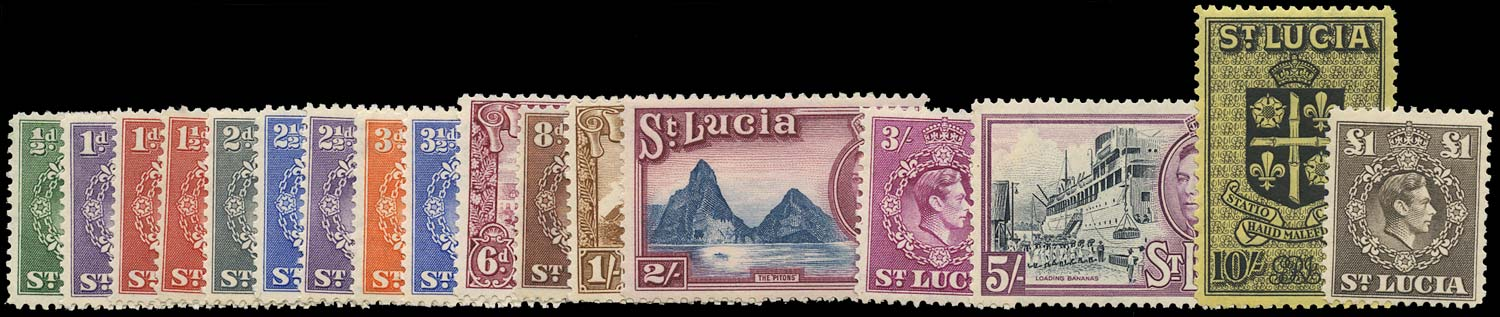 ST LUCIA 1938  SG128a/41 Mint unmounted KGVI set of 17 to £1