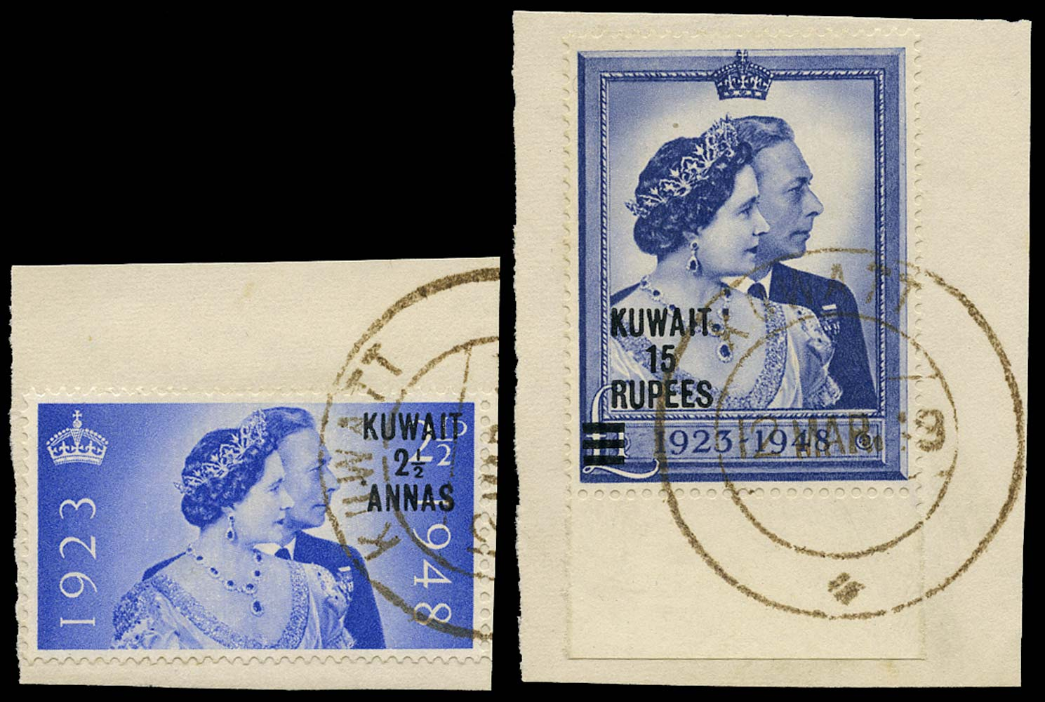 KUWAIT 1948  SG74/5 Used Royal Silver Wedding pair