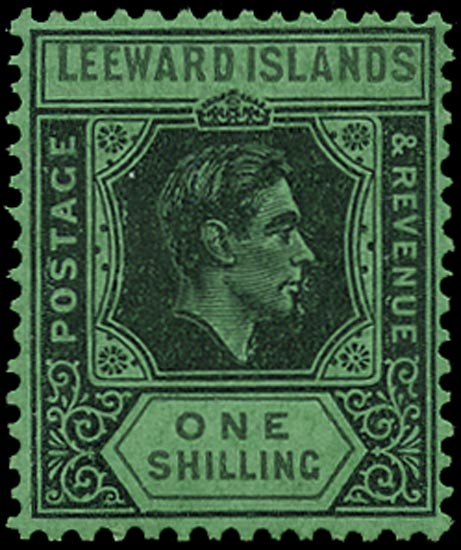LEEWARD ISLANDS 1942  SG110bb Mint 1s black and grey on emerald paper