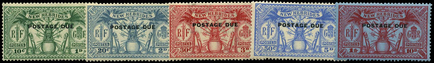 NEW HEBRIDES 1925  SGD1/5 Postage Due set of 5 to 10d (1f)