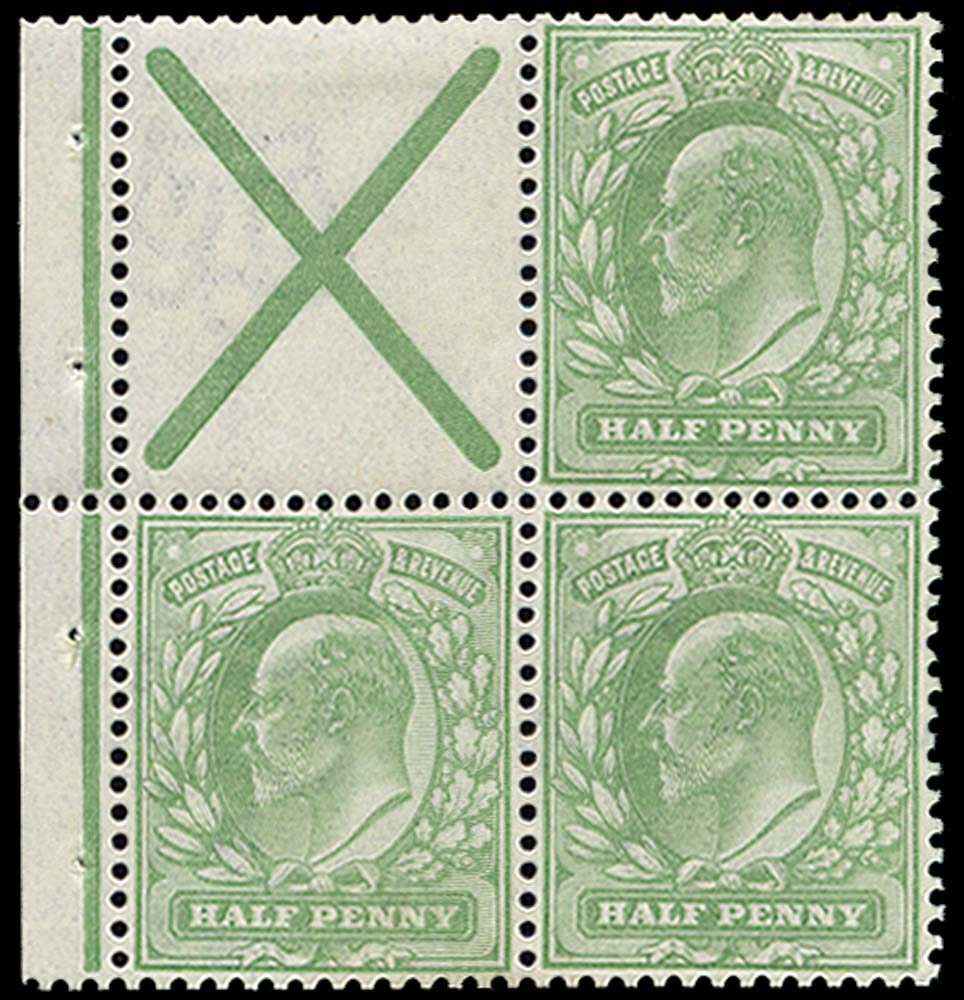 GB 1904  SG218 Booklet pane with St. Andrews cross label
