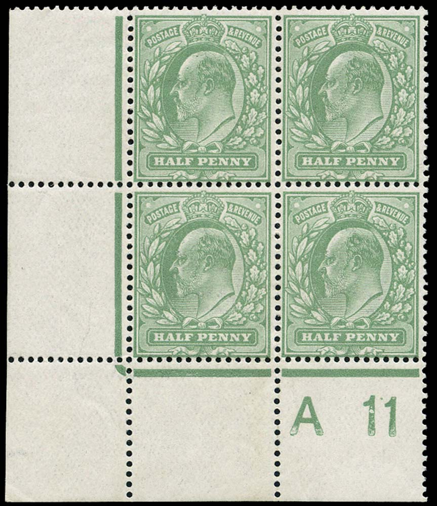GB 1911  SG279 Mint (15x14) A11 control block of four