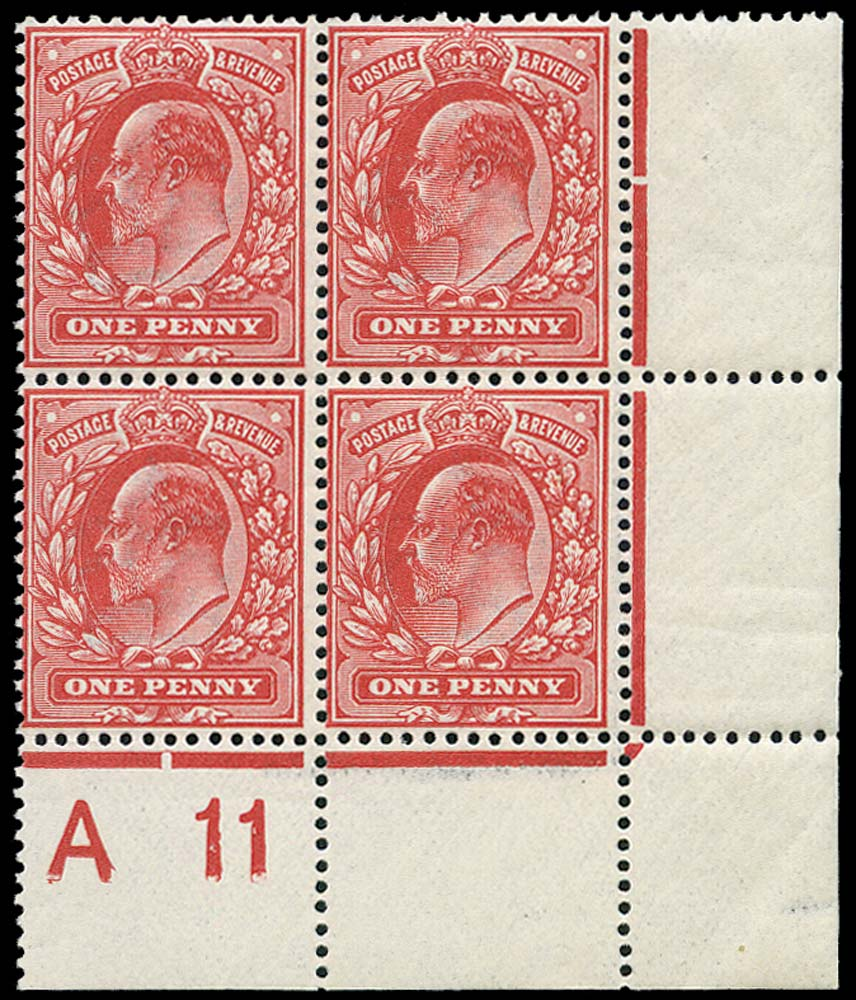GB 1911  SG272 Mint A11 control block of four