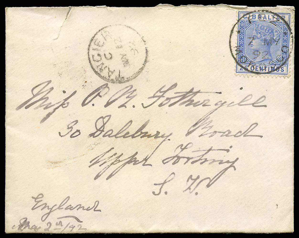 MOROCCO AGENCIES 1892  SGZ35 Cover