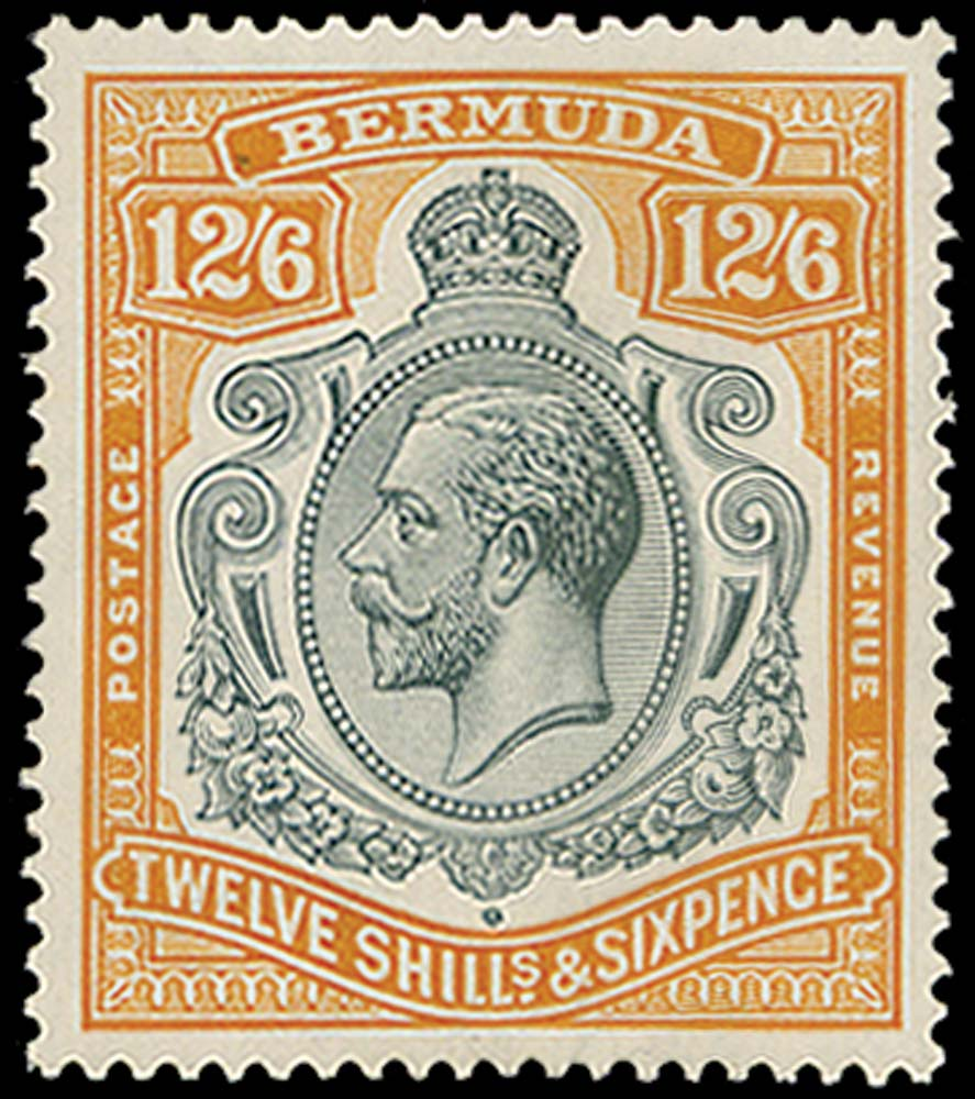 BERMUDA 1924  SG93 Mint 12s6d grey and orange unmounted