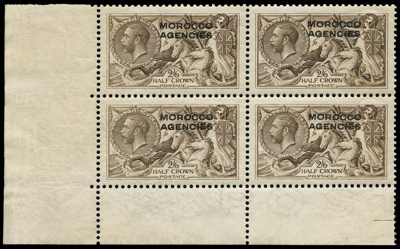 MOROCCO AGENCIES 1914  SG50b Mint overprint double, one albino