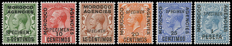 MOROCCO AGENCIES 1914  SG129/33, 135 Specimen