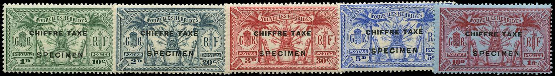 NEW HEBRIDES 1925  SGFD53s/7s Specimen French postage due set of 5