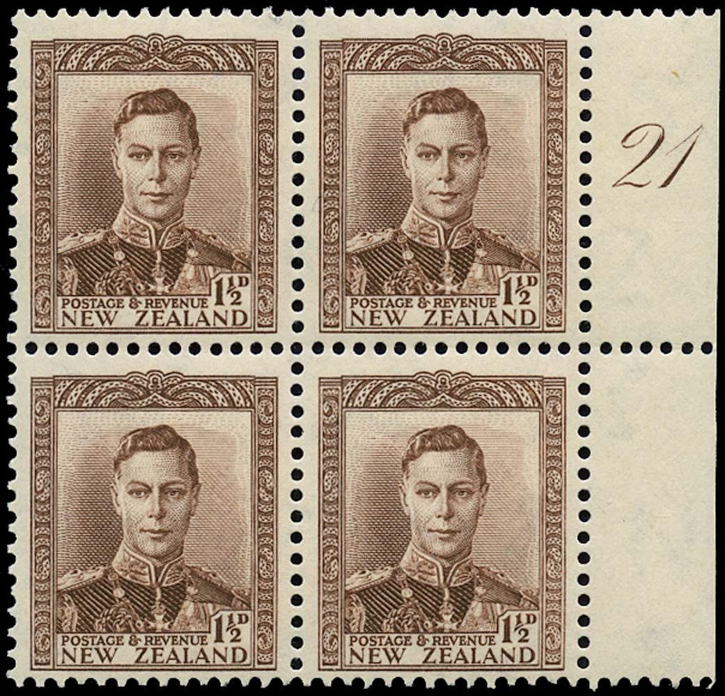 NEW ZEALAND 1938  SG607 Mint 1½d purple-brown unmounted