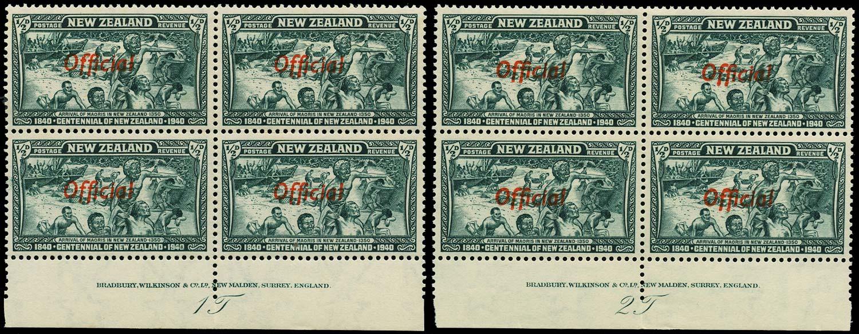 NEW ZEALAND 1940  SGO141 Official Centennial ½d blue-green unmounted