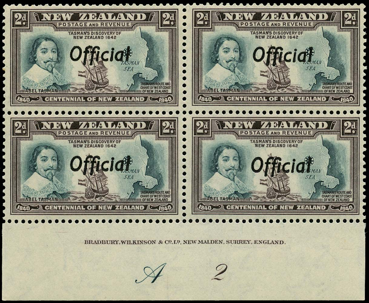 NEW ZEALAND 1940  SGO144 Official Centennial 2d Abel Tasman unmounted