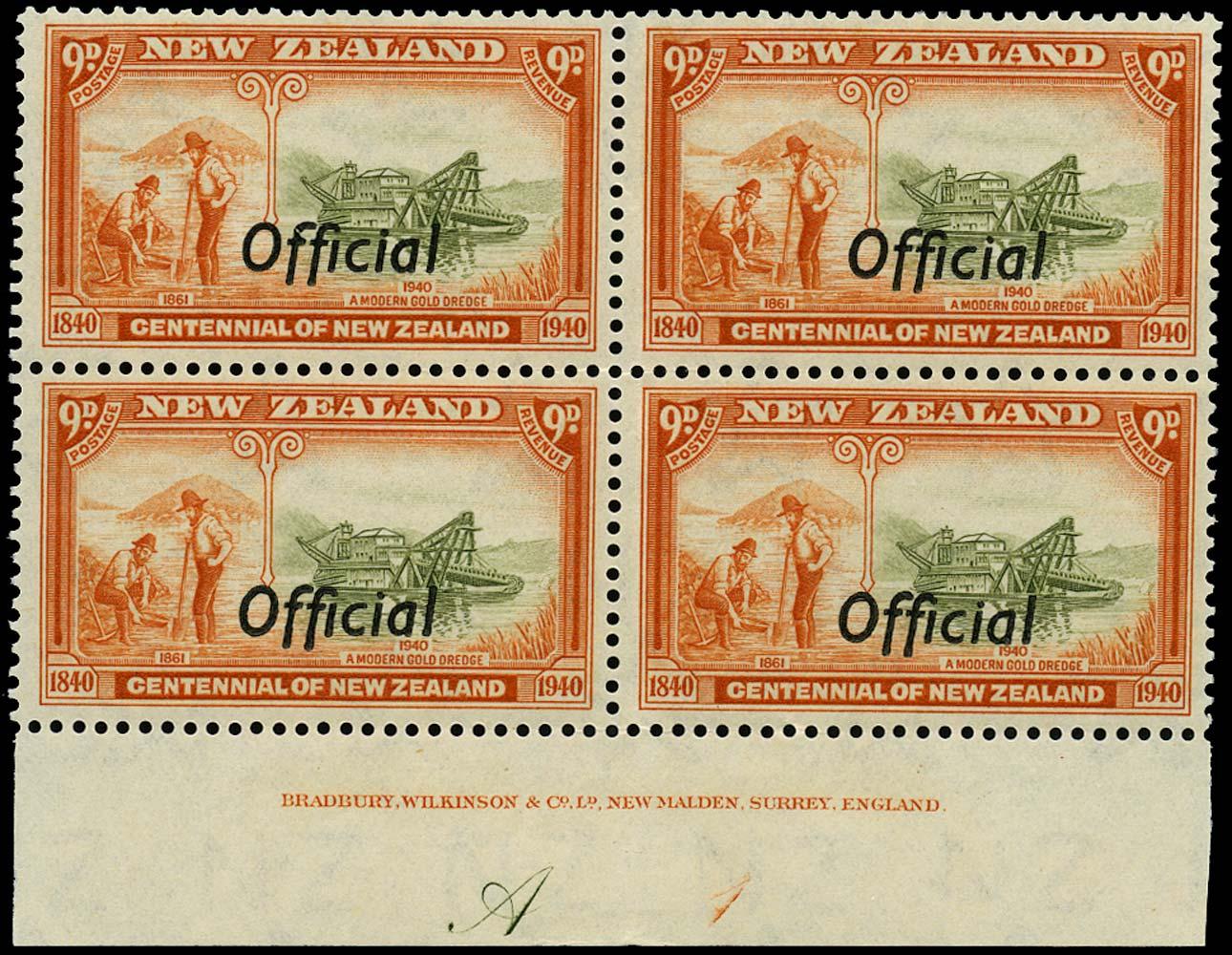 NEW ZEALAND 1940  SGO150 Official Centennial 9d Gold Mining