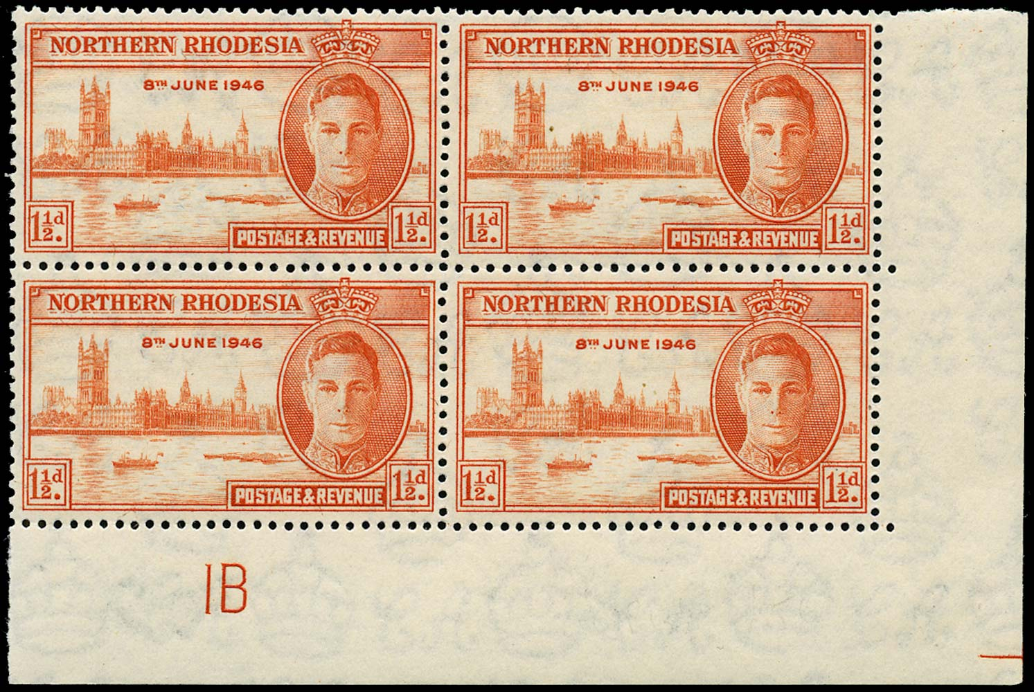 NORTHERN RHODESIA 1946  SG46a Mint Victory 1½d red-orange perf 13½ unmounted