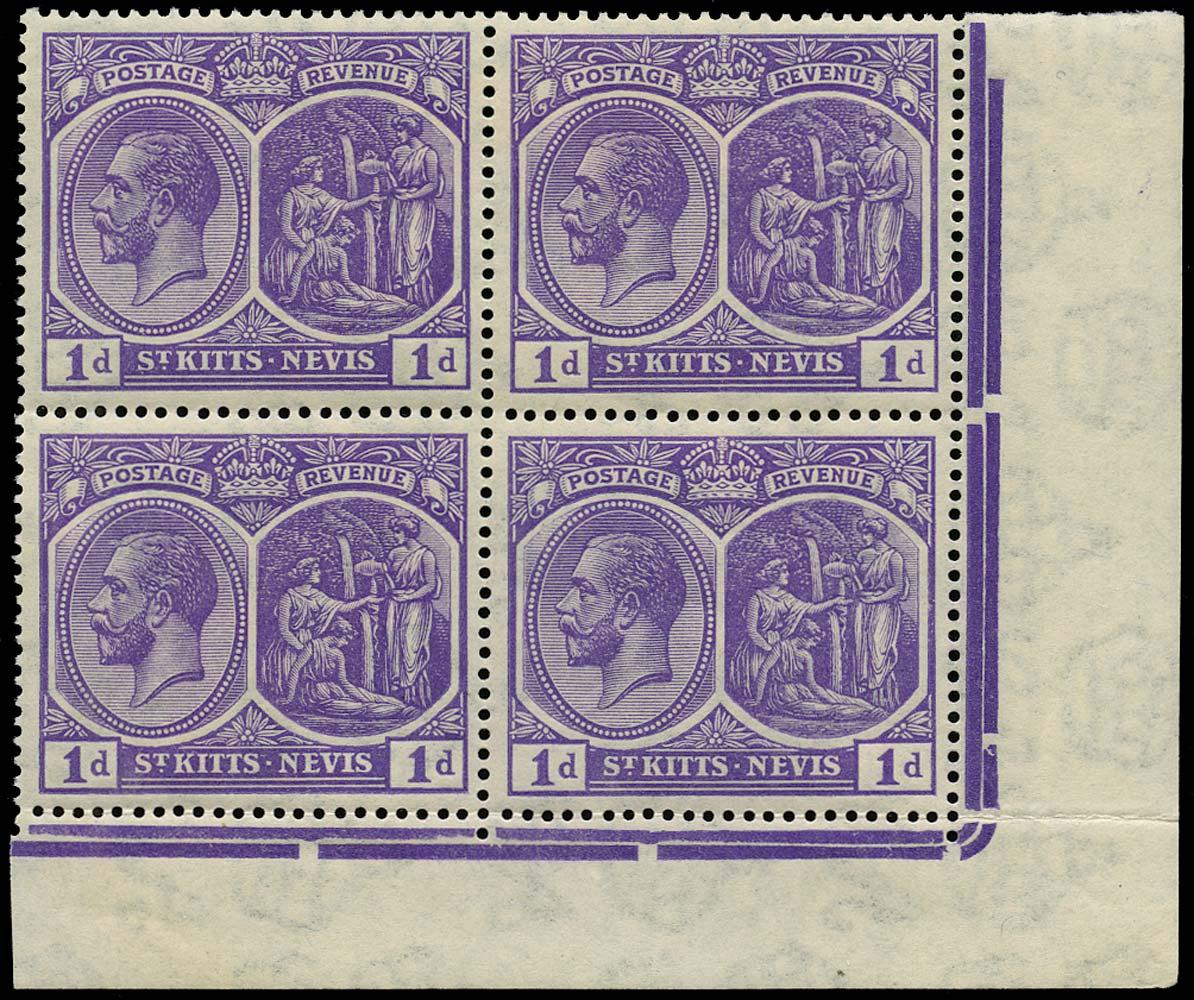 ST KITTS NEVIS 1922  SG39 Mint 1d deep violet wmk Script unmounted