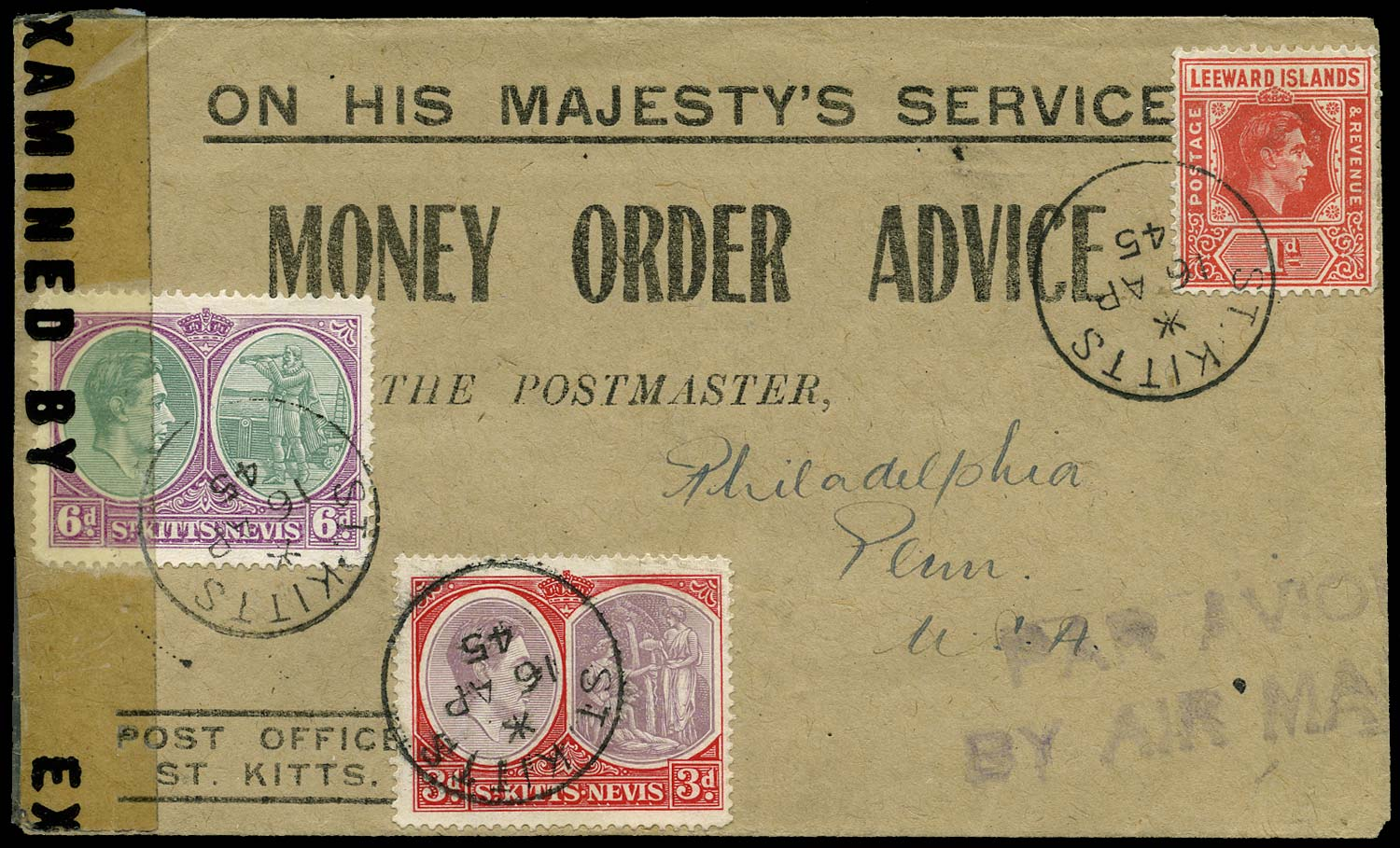 ST KITTS NEVIS 1945  SG73b, 74b Cover OHMS Money Order Advice airmail censored